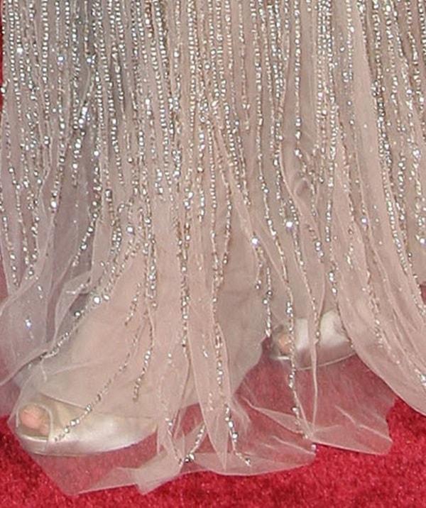 A closer look at Angelina's Ferragamo peep-toe pumps at the 2014 Oscars