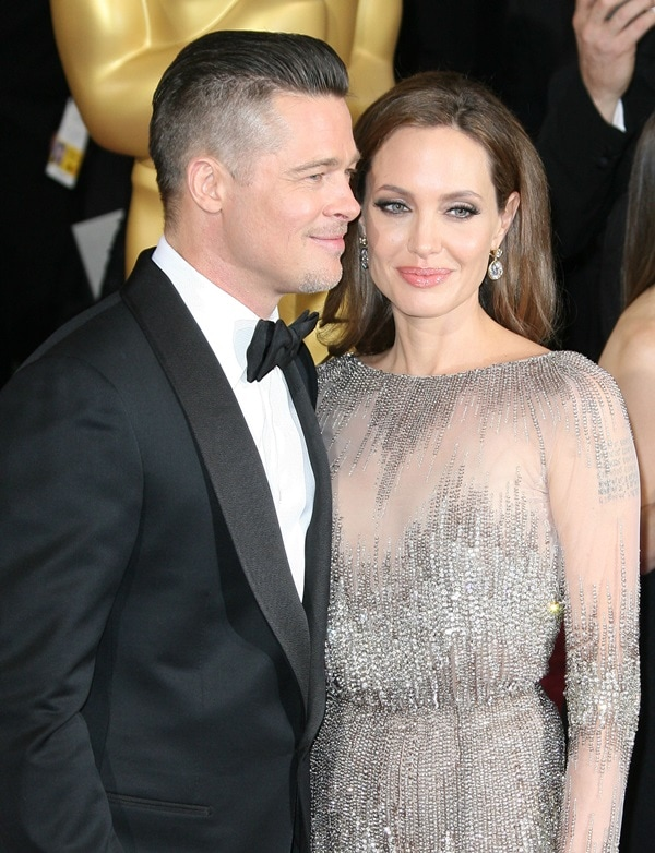Angelina Jolie and Brad Pitt, one of Hollywood's power couples, at the 2014 Oscars held at the Dolby Theatre in Hollywood, California, on March 2, 2014