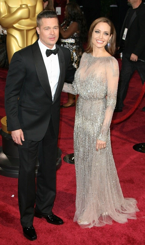 Angelina Jolie slipped into a silvery piece from Elie Saab, which was exquisitely beaded to the hilt