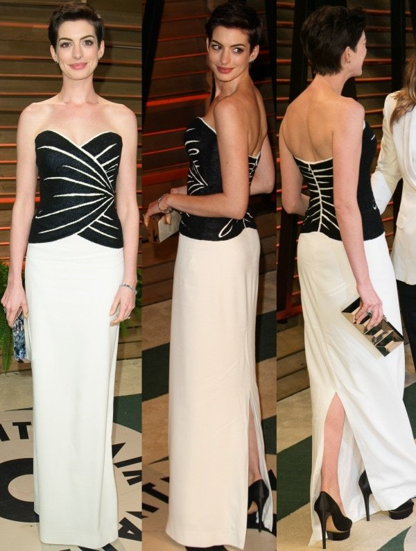Anne Hathaway wore a monochromatic strapless column gown from Viktor & Rolf