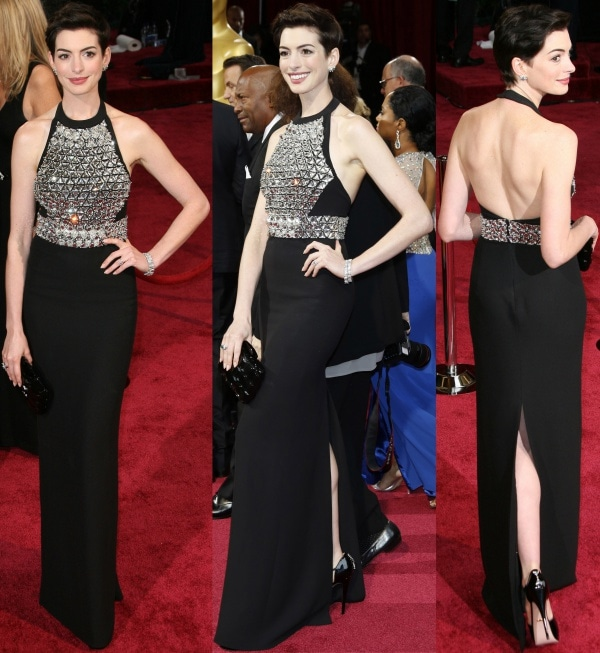 Anne Hathaway looked like a feisty princess-in-shining-armor in head-to-toe Gucci