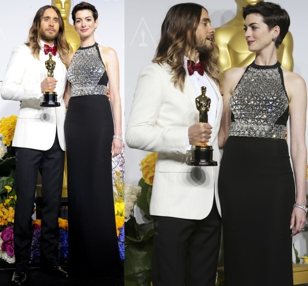 Anne Hathaway with Jared Leto at the 86th Annual Academy Awards press room at the Dolby Theatre in Hollywood, California, on March 2, 2014