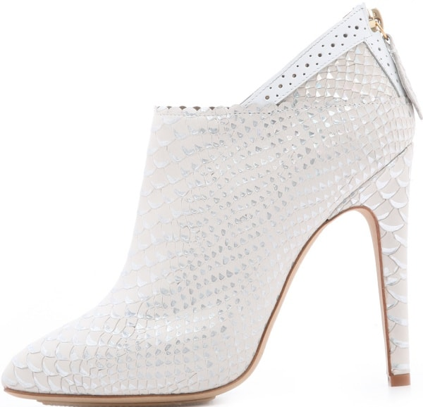 Aperlai Metallic-tipped Booties in White Snake-Embossed Leather
