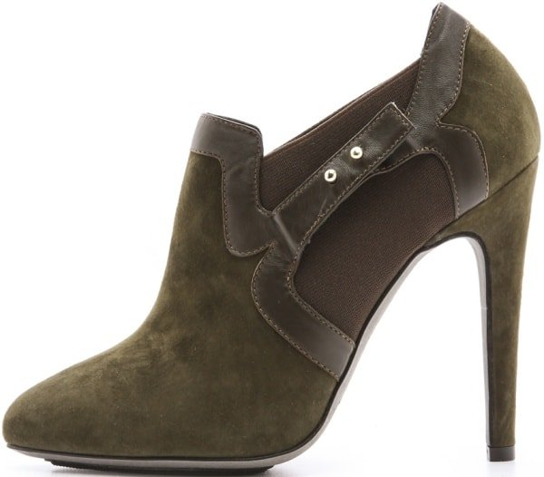 Aperlai Pointed-Toe Booties in Olive Green Suede