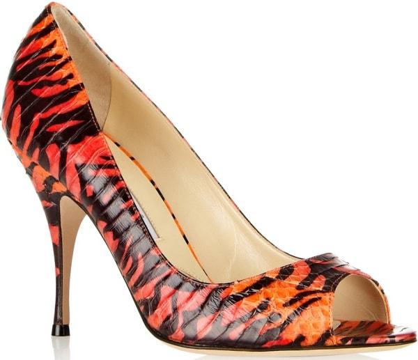 "Brian Atwood ""Carla"" Pumps in Orange-and-Black Tiger-Print Elaphe"