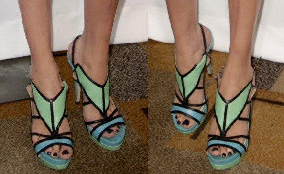 Maggie Grace's hot feet in seafoam green Burak Uyan sandals