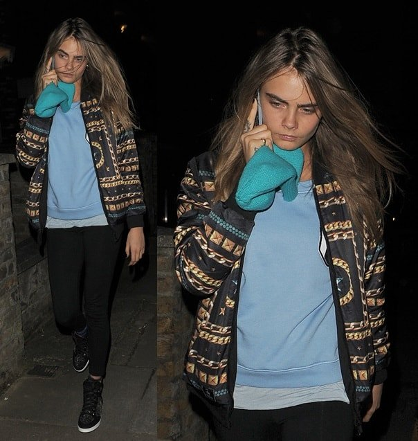 Cara Delevingne enjoying a night out with her friends in North London, England, on March 12, 2014