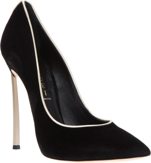Casadei Contrast-Stiletto Pumps in Black Suede