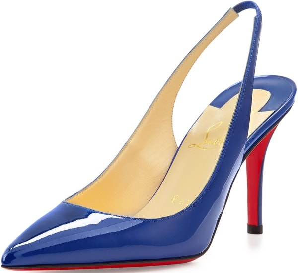 """Christian Louboutin """"Apostrophy Sling"""" Pumps in Neptune Patent Leather"""