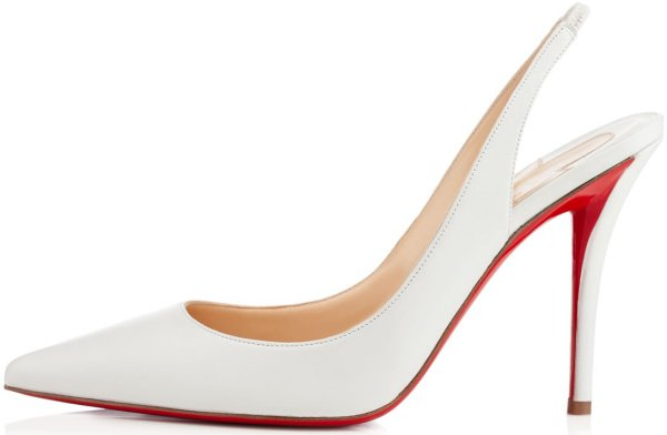 """Christian Louboutin """"Apostrophy Sling"""" Pumps in White Leather"""