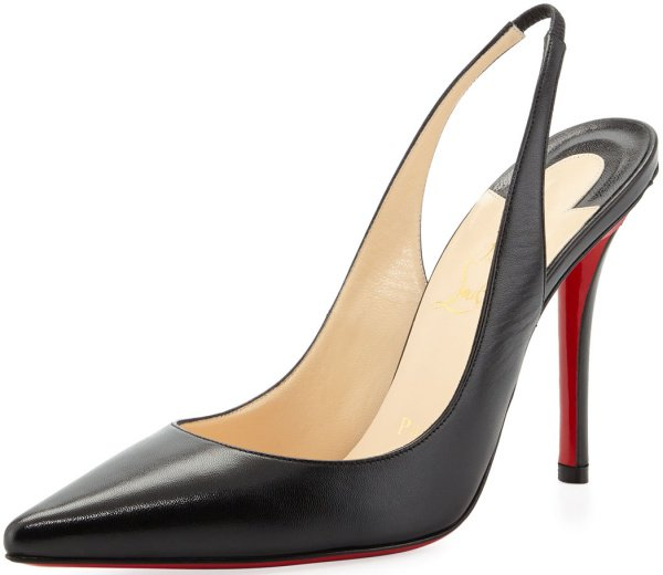 """Christian Louboutin """"Apostrophy Sling"""" Pumps in Black Patent Leather"""
