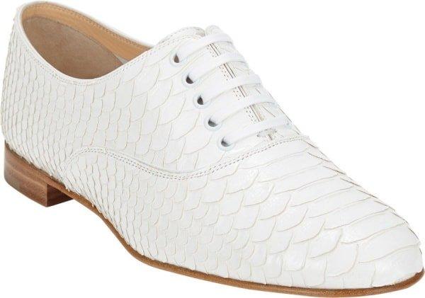 """Christian Louboutin """"Fred"""" Brogues in White Python"""
