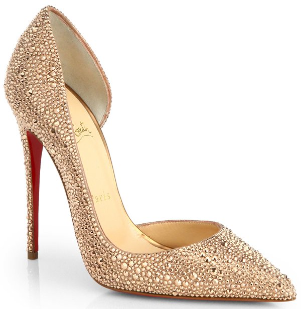 """Strass """"Iriza"""" D'Orsay Pumps in Champagne"""