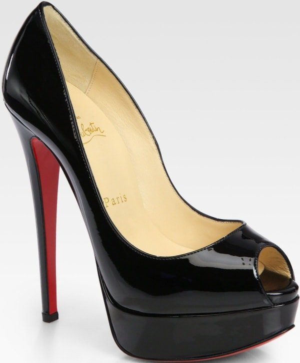 'Lady Peep' pumps with covered heels, covered double platforms, peep toes, glossy black patent leather, and the brand's signature red leather soles