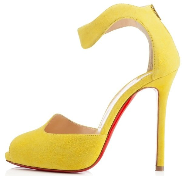 christian louboutin leonor fini sandals in yellow suede 2