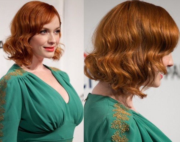 The emerald hue looked beautiful against Christina Hendricks' flame-colored locks