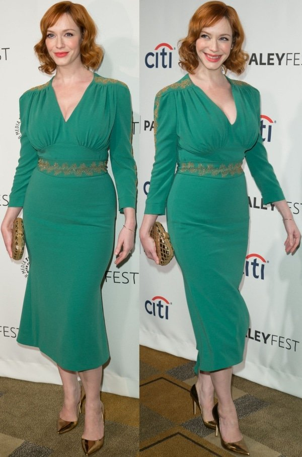 Christina Hendricks flashed her legs in a stunning green dress from L'Wren Scott