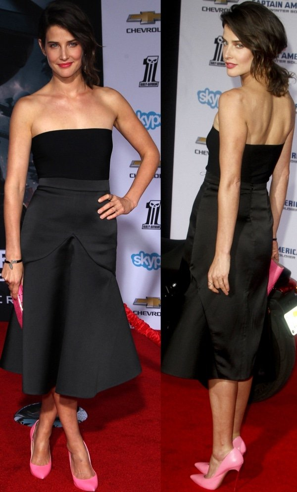 Cobie Smulders in a retro-inspired black dress from Stella McCartney
