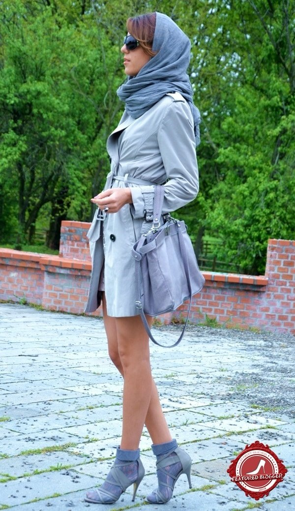 Cristina Surdu wearing the socks-and-sandals look in monochromatic powder blue from head to toe