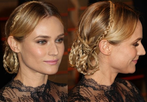 Diane Kruger'shair was styled in an intricate braided updo
