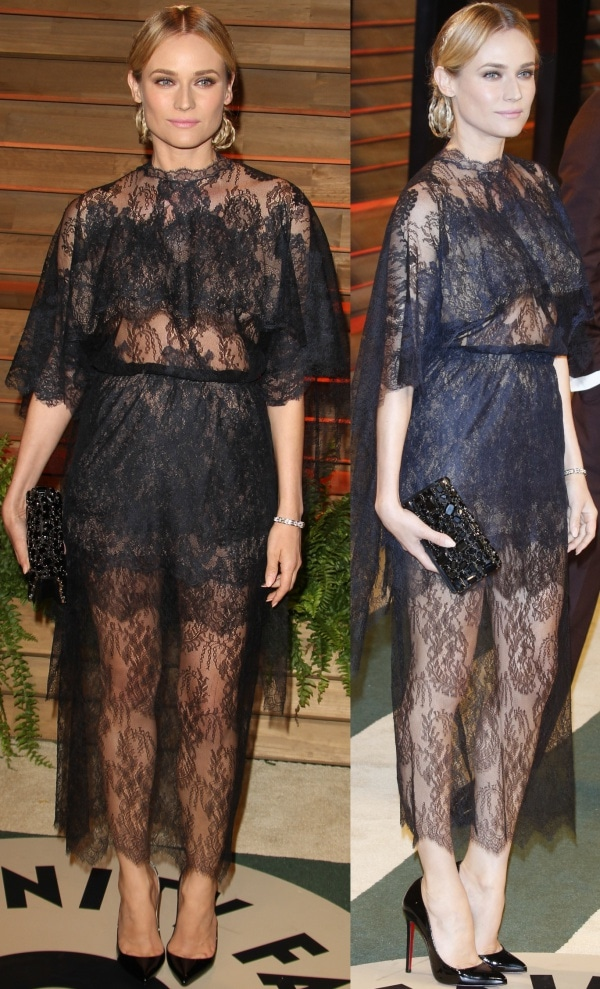 Diane Kruger in a lace dress from Valentino's Spring 2014 Haute Couture collection