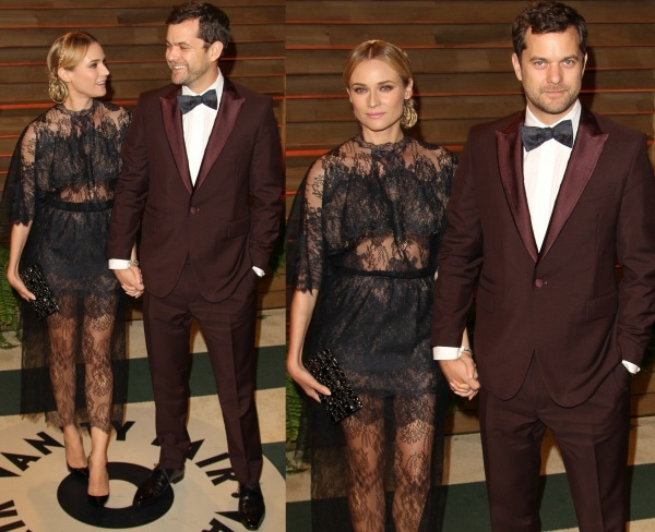 Diane Kruger with Joshua Jackson at the 2014 Vanity Fair Oscar Party held at Sunset Plaza in West Hollywood, California, on March 2, 2014