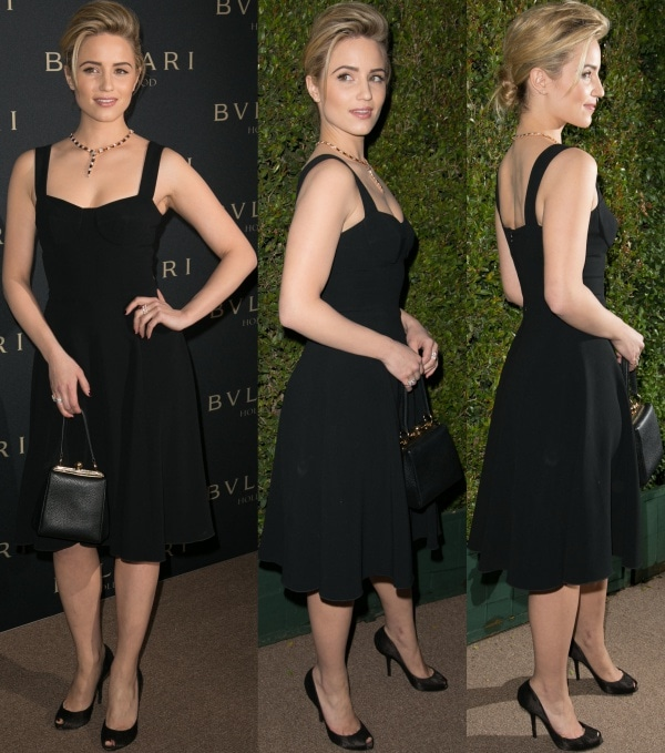 Clad in head-to-toe Dolce & Gabbana, Dianna opted for a classic little black dress paired with black lace peep-toe pumps