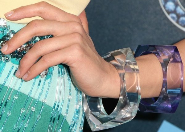 Dianna Agron's sporting a couple of perspex cuffs