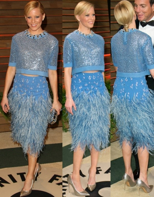Elizabeth Banks in a two-piece outfit from Jenny Packham's Fall 2014 collection