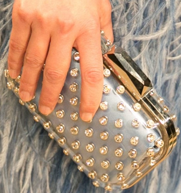 Elizabeth Banks toting a studded minaudière from Jimmy Choo