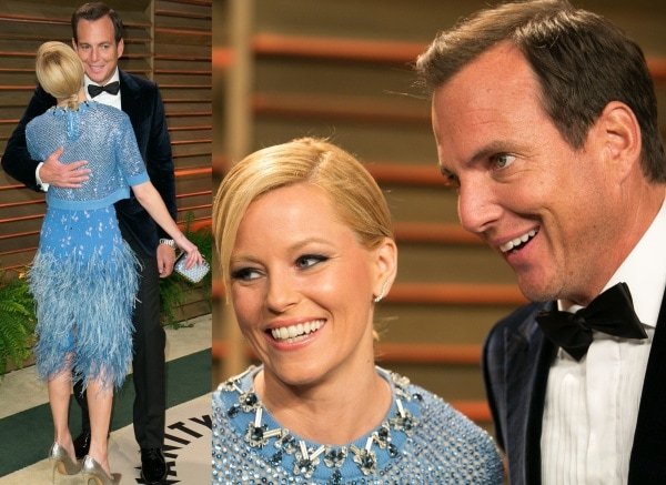 Elizabeth Banks with Will Arnett at the 2014 Vanity Fair Oscar Party held at Sunset Plaza in West Hollywood, California, on March 2, 2014