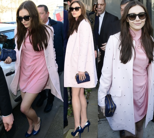 Elizabeth Olsen wore a rose crepe de chine dress, which she styled with an embellished baby pink cady coat