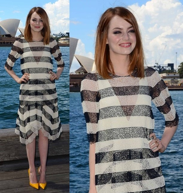 Emma Stonekept it classic yet feminine with sheer black-and-white striped separates from Chloe