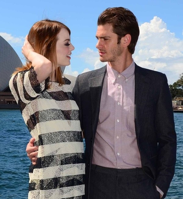 Emma Stone and Andrew Garfield at the photo call for 'The Amazing Spiderman 2'