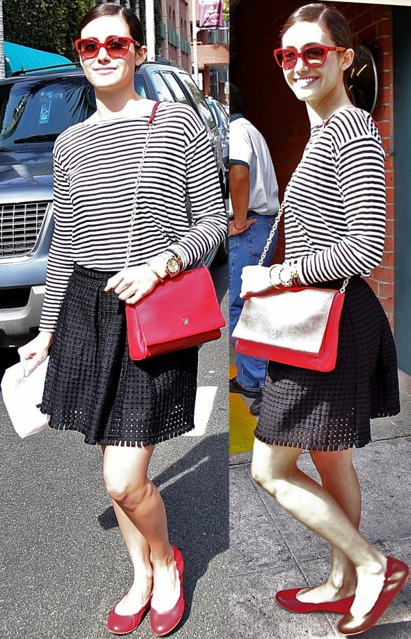 Emmy Rossum wearing a black-and-white striped shirt from H&M's Conscious Collection