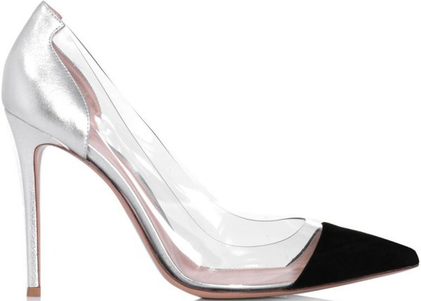 Gianvito Rossi Black Suede, Silver Metallic Leather, and PVC Pumps