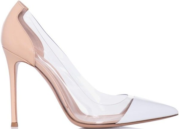 Gianvito Rossi White Leather and PVC Pumps