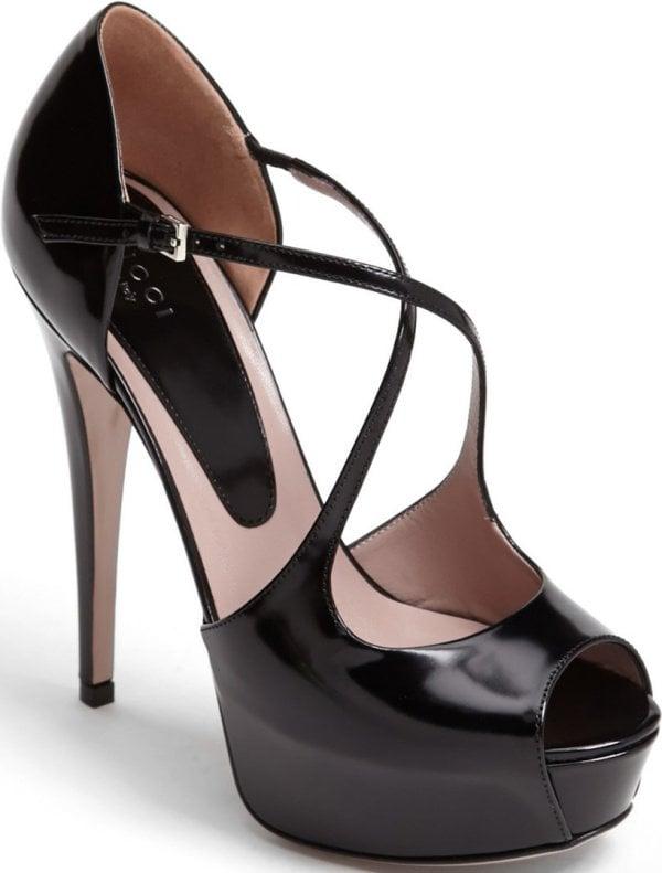 "Gucci ""Lili"" Pumps in Black Patent Leather"