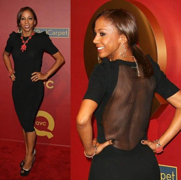 Actress Holly Robinson Peete arrives at the QVC 5th Annual Red Carpet Style event