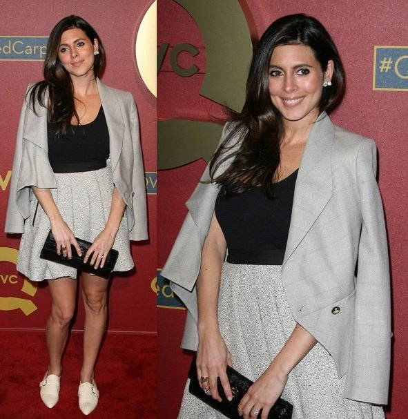 Jamie Lynn Sigler in separates capped off with a pair of buckled and studded oxfords