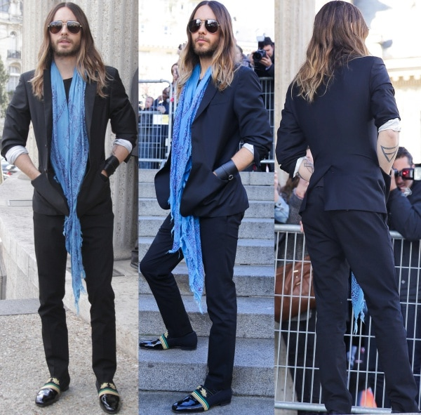 Jared Leto opted for casual-cool in a navy suit