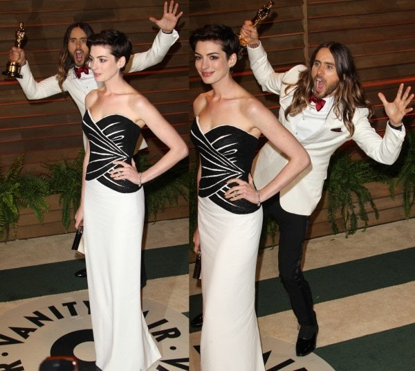 One of the most delightful moments at the party was seeing Jared Leto photobomb a seemingly oblivious Anne Hathaway