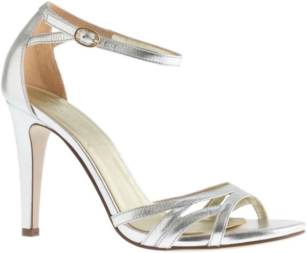 "J. Crew ""Lillian"" Sandals in Metallic Silver"