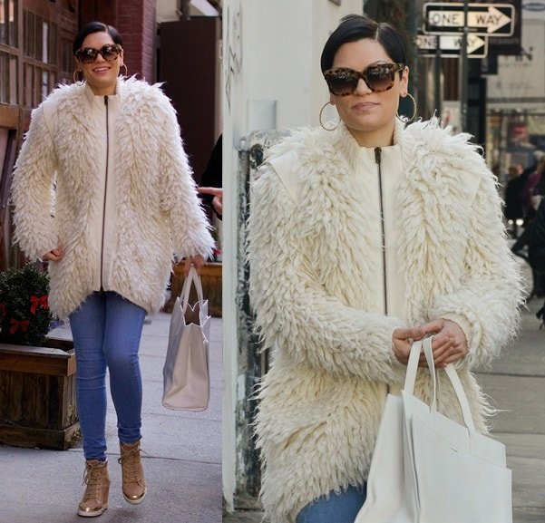 Jessie J decked in fur in Soho, New York City, on March 11, 2014