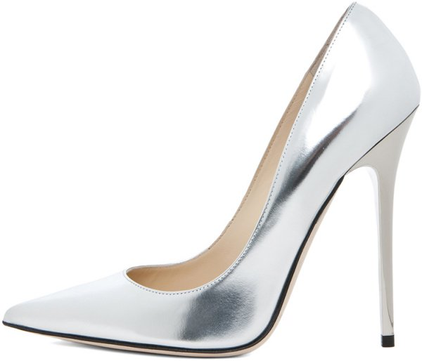 "Jimmy Choo ""Anouk"" Pumps in Silver Metallic Leather"