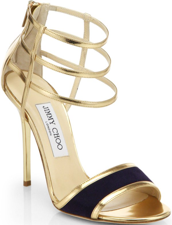 """Jimmy Choo """"Tolka"""" Sandals in Gold Mirrored Leather"""