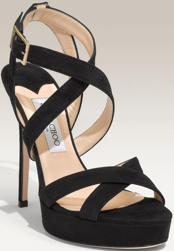 """Jimmy Choo """"Vamp"""" Sandals in Black Suede"""
