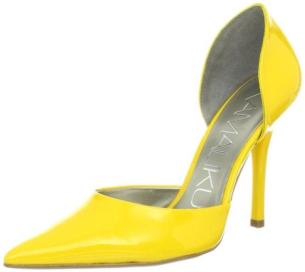 KamaliKulture D'Orsay Pumps in Yellow Patent