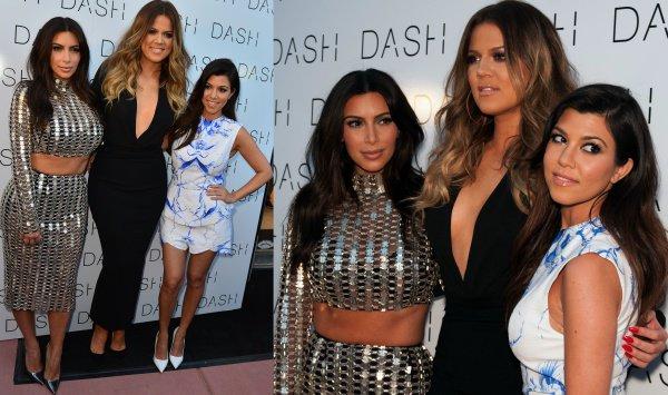 Kim, Khloe, and Kourtney Kardashian at the grand opening of DASH Miami Beach in Miami Beach, Florida, on March 12, 2014