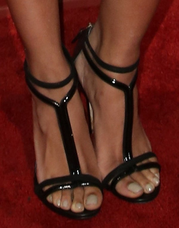 Kat Graham wearing Brian Atwood t-strap sandals